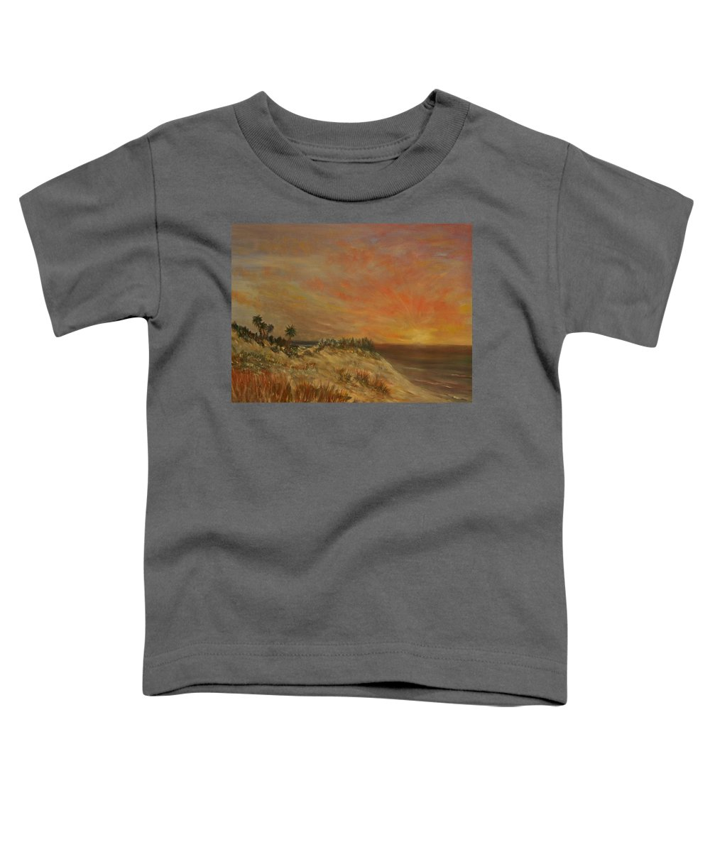 Sunset;beach;ocean;palm Trees Toddler T-Shirt featuring the painting Island Sunset by Ben Kiger