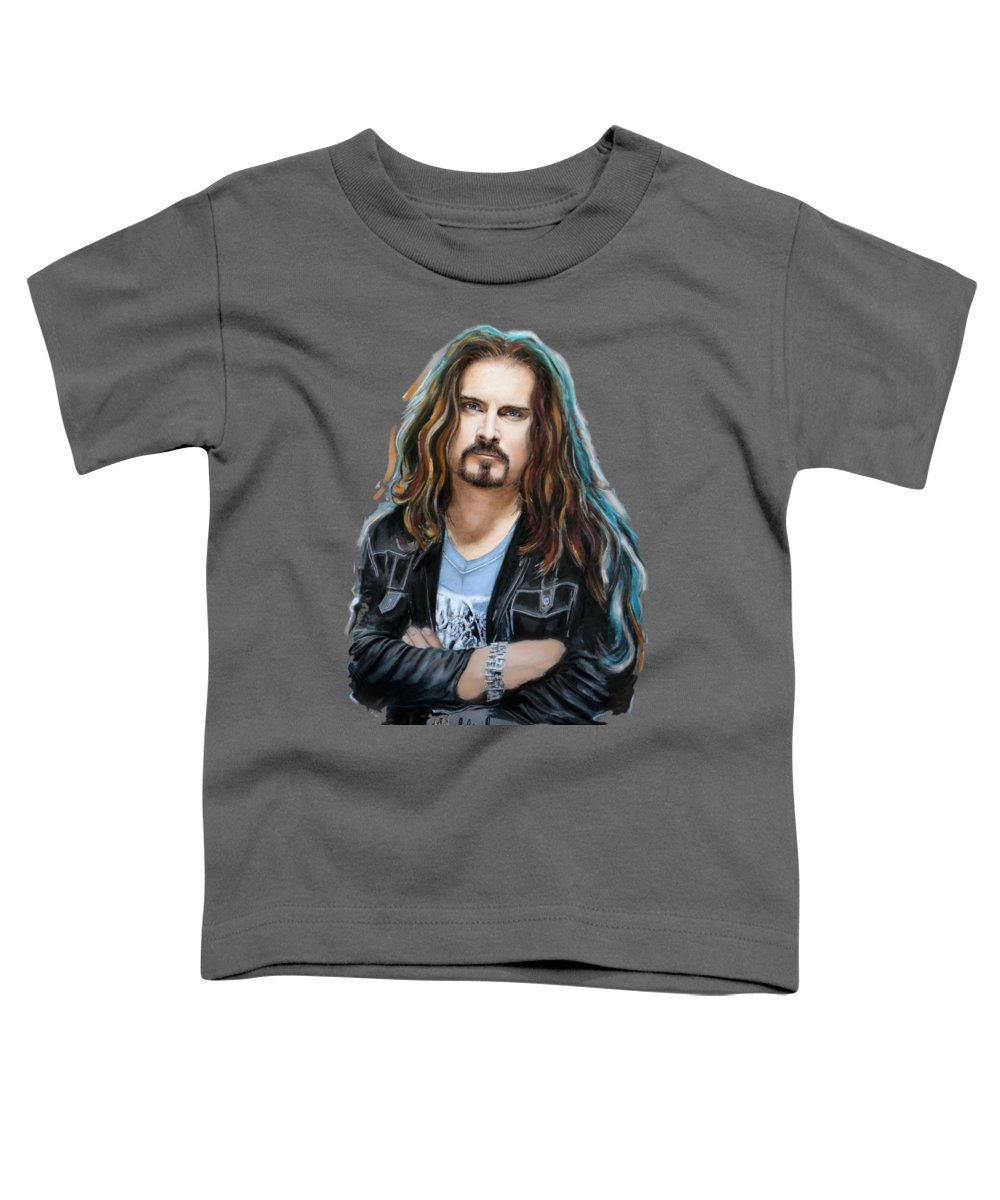 James Labrie Toddler T-Shirt featuring the mixed media James Labrie by Melanie D
