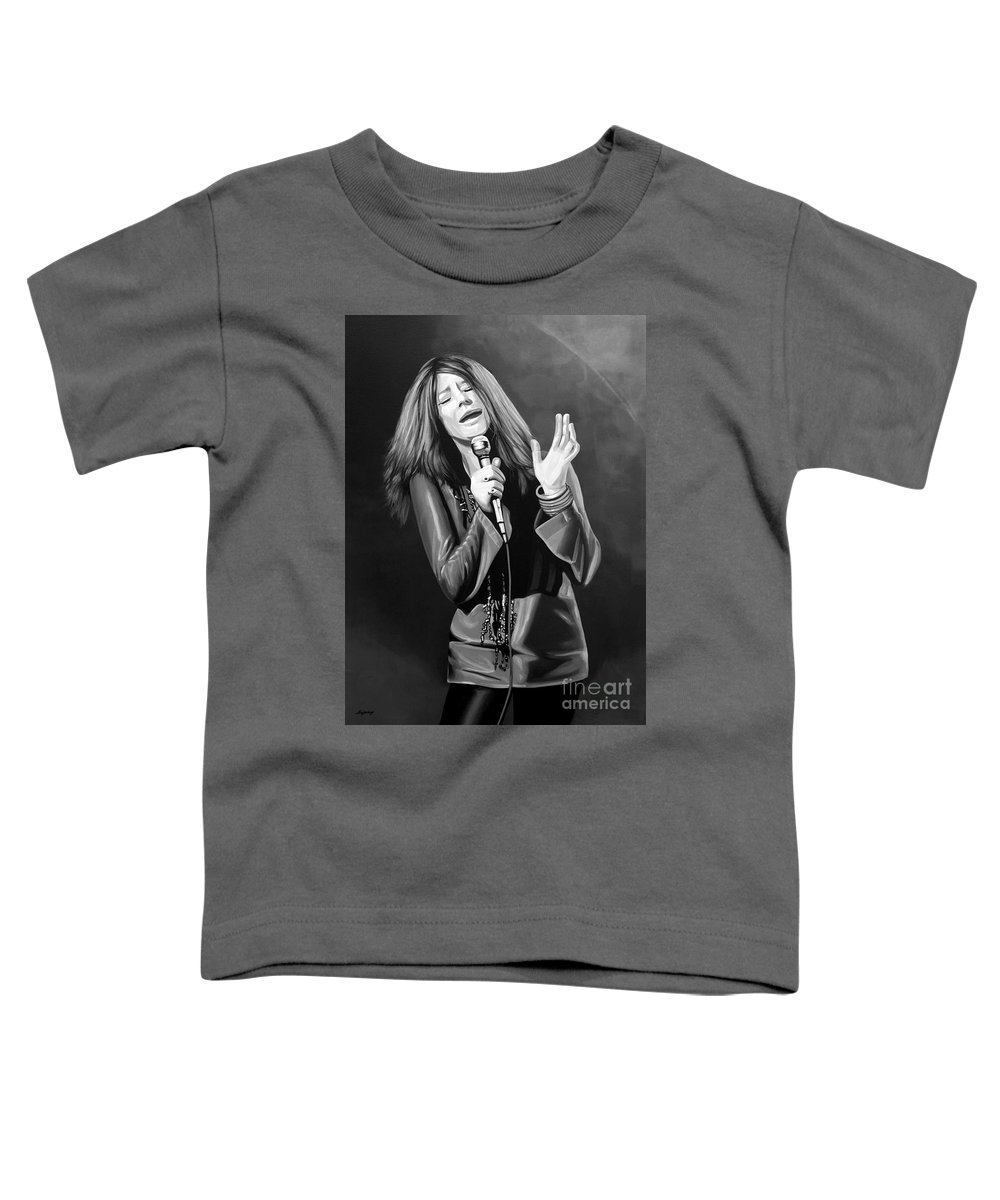 Janis Joplin Toddler T-Shirt featuring the mixed media Janis Joplin by Meijering Manupix