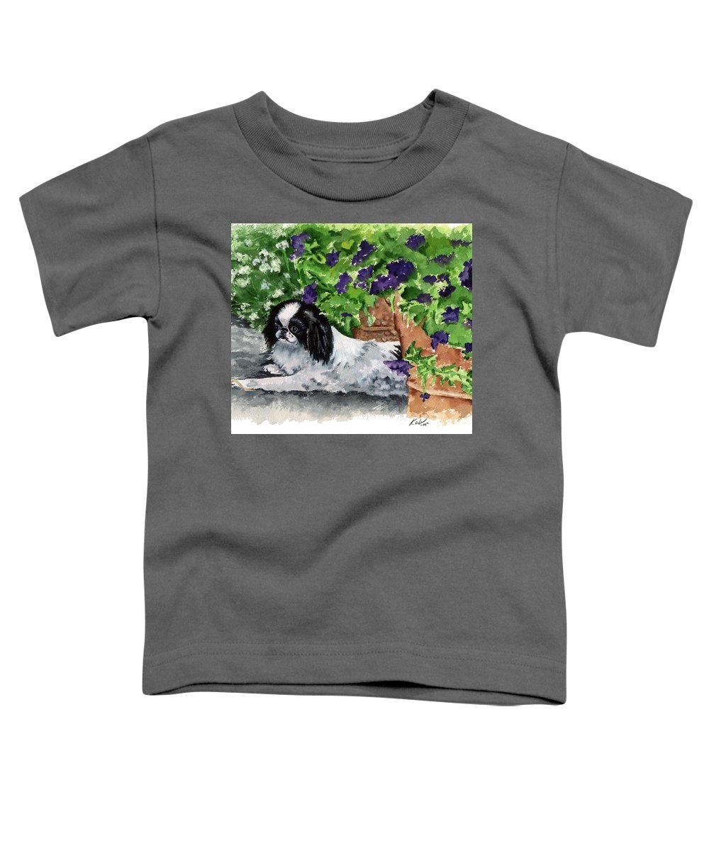Japanese Chin Toddler T-Shirt featuring the painting Japanese Chin Puppy And Petunias by Kathleen Sepulveda