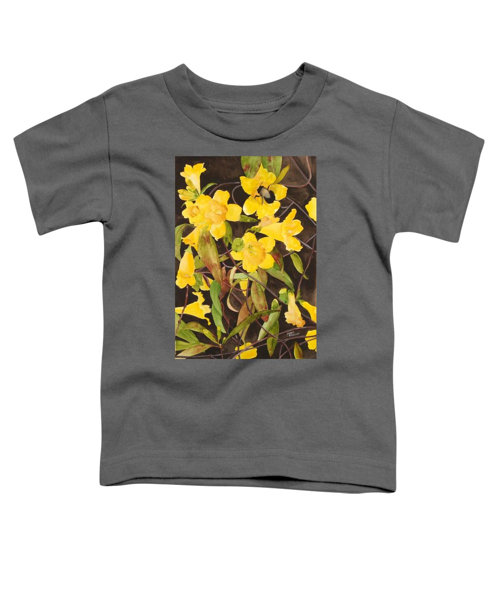 Flowers Toddler T-Shirt featuring the painting Jessamine Jungle by Jean Blackmer
