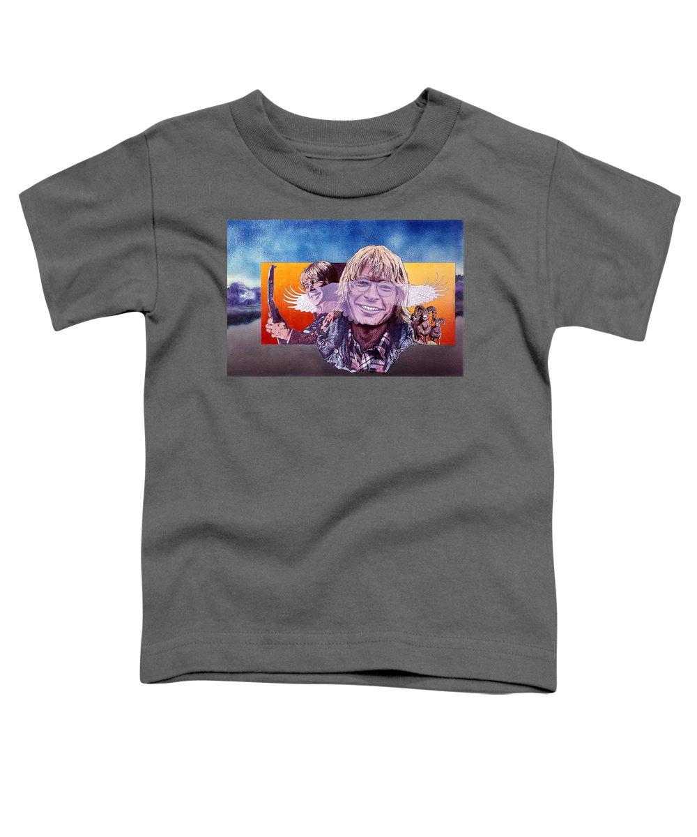John Denver Toddler T-Shirt featuring the mixed media John Denver by John D Benson