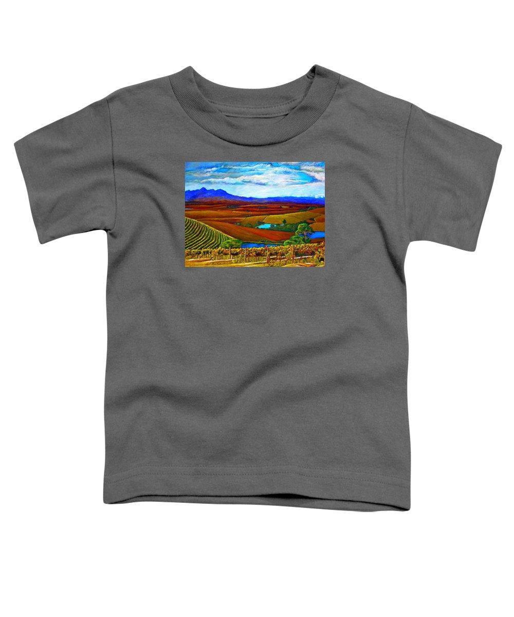 Vineyard Toddler T-Shirt featuring the painting Jordan Vineyard by Michael Durst
