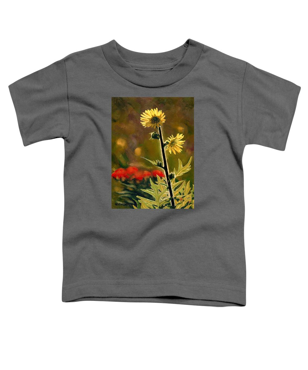 Prairie Flowers Toddler T-Shirt featuring the painting July Afternoon-compass Plant by Bruce Morrison