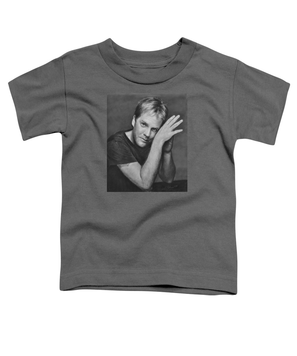 Portraits Toddler T-Shirt featuring the drawing Kiefer Sutherland by Iliyan Bozhanov