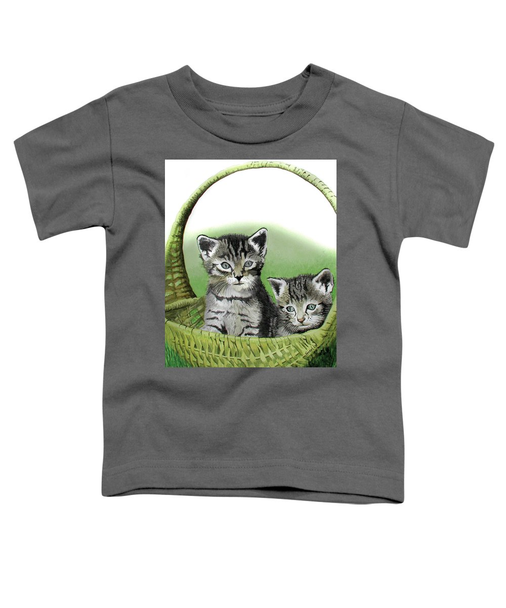 Cat Toddler T-Shirt featuring the painting Kitty Caddy by Ferrel Cordle