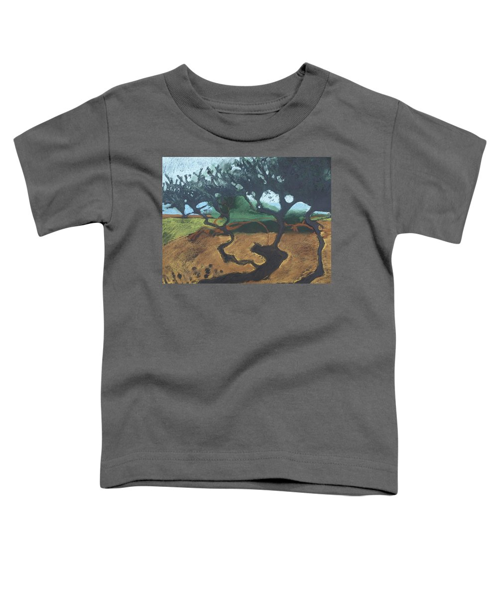 Contemporary Tree Landscape Toddler T-Shirt featuring the drawing La Jolla I by Leah Tomaino