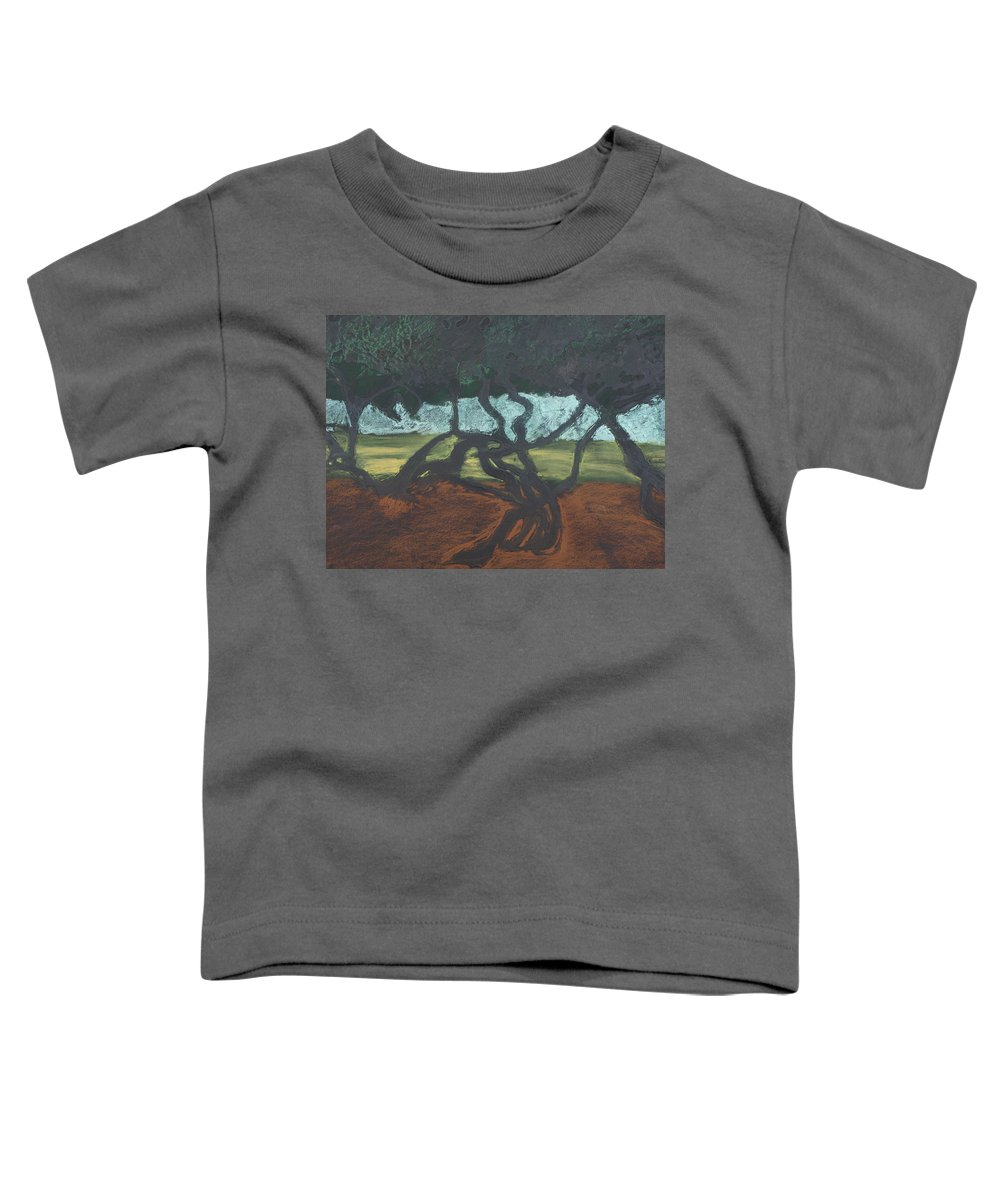 Contemporary Tree Landscape Toddler T-Shirt featuring the mixed media La Jolla II by Leah Tomaino