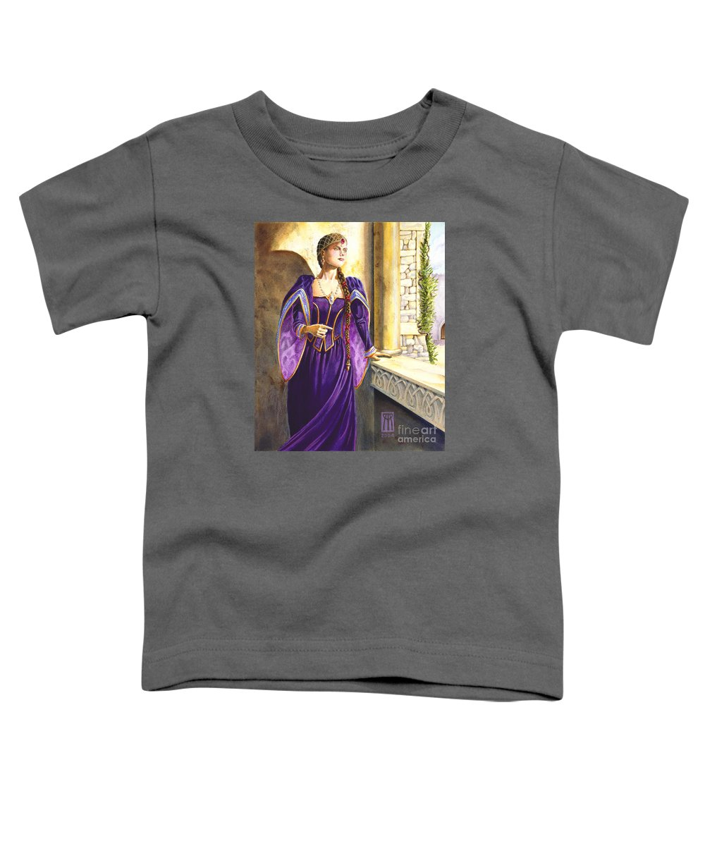 Camelot Toddler T-Shirt featuring the painting Lady Ettard by Melissa A Benson