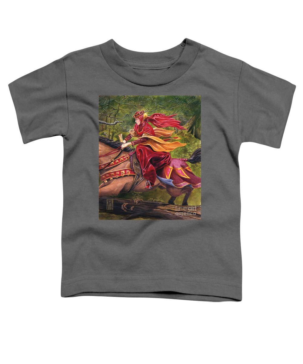 Camelot Toddler T-Shirt featuring the painting Lady Lunete by Melissa A Benson