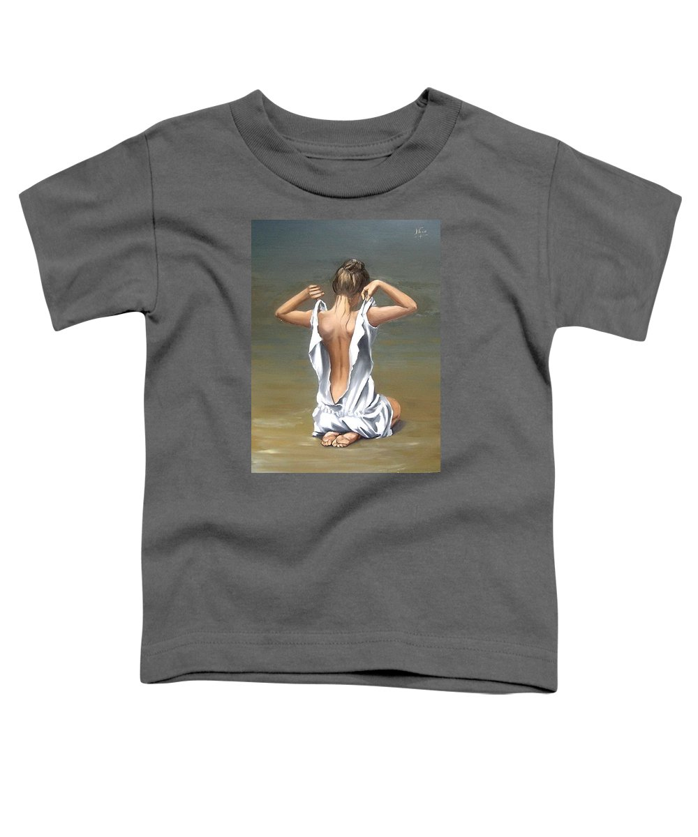 Lady Girl Woman Figurative Figure Nude Portrait Fine Art Female Toddler T-Shirt featuring the painting Lady by Natalia Tejera