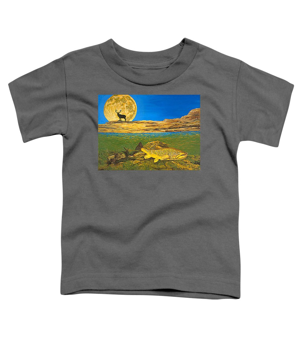 Artwork Toddler T-Shirt featuring the painting Landscape Art Fish Art Brown Trout Timing Bull Elk Full Moon Nature Contemporary Modern Decor by Baslee Troutman