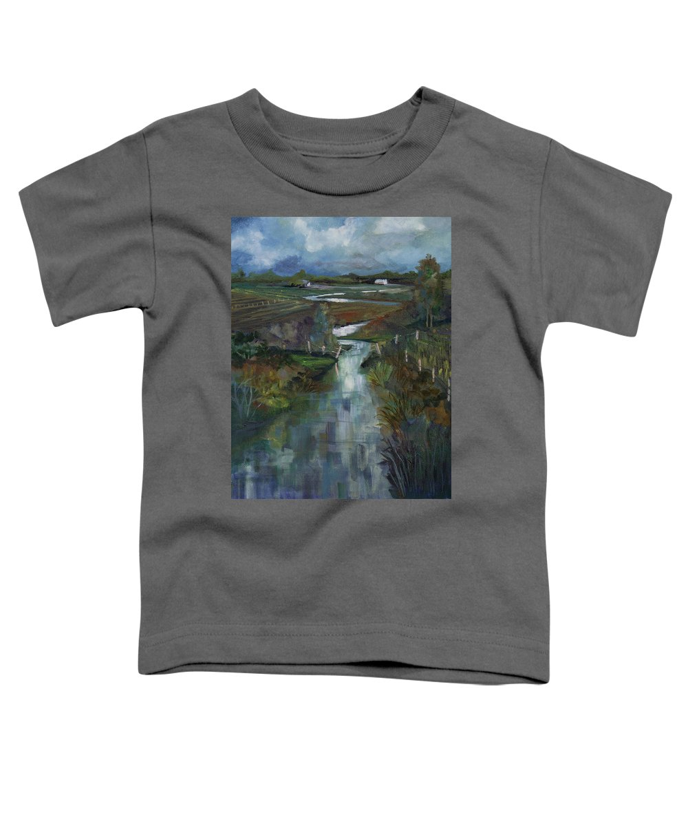 River Toddler T-Shirt featuring the painting Laramie River Valley by Heather Coen