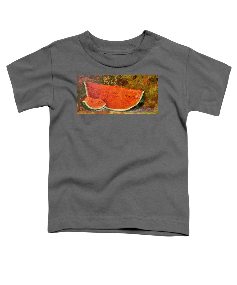 Watermelon Toddler T-Shirt featuring the painting Last Of Summer by Ginger Concepcion