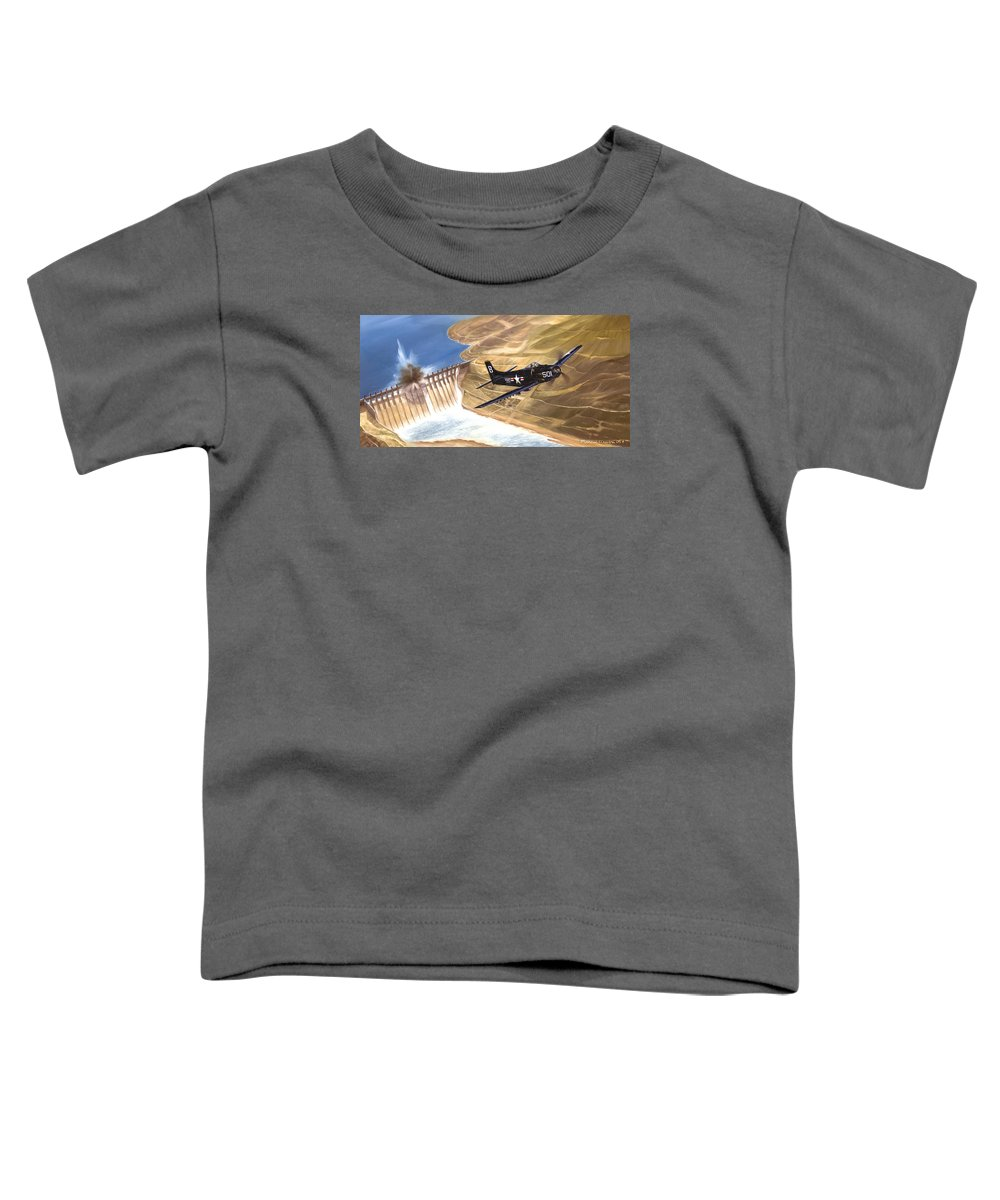 Military Toddler T-Shirt featuring the painting Last Of The Dambusters by Marc Stewart