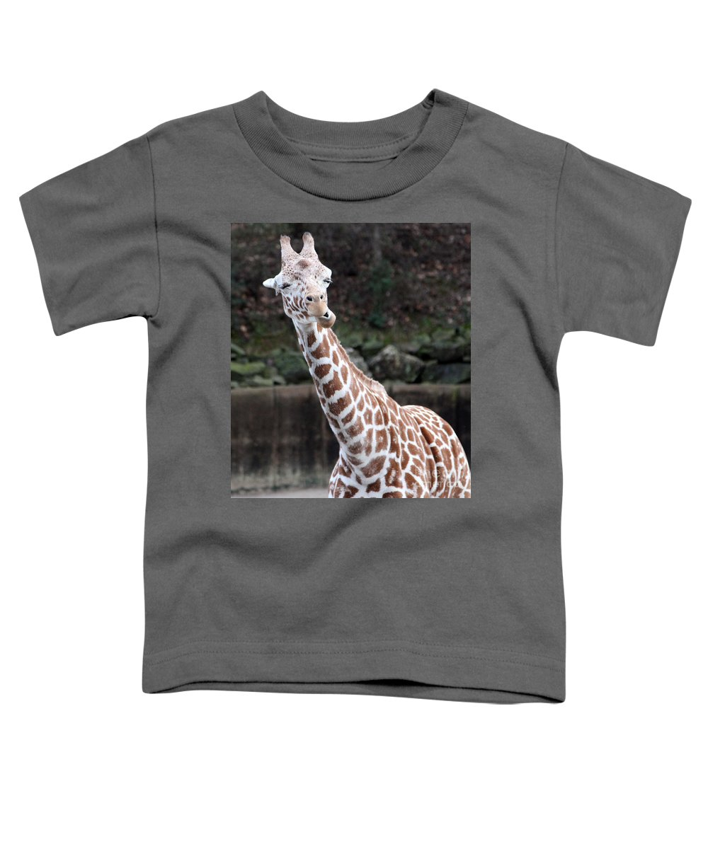 Laughing Giraffe Toddler T-Shirt featuring the photograph Laughter by Amanda Barcon
