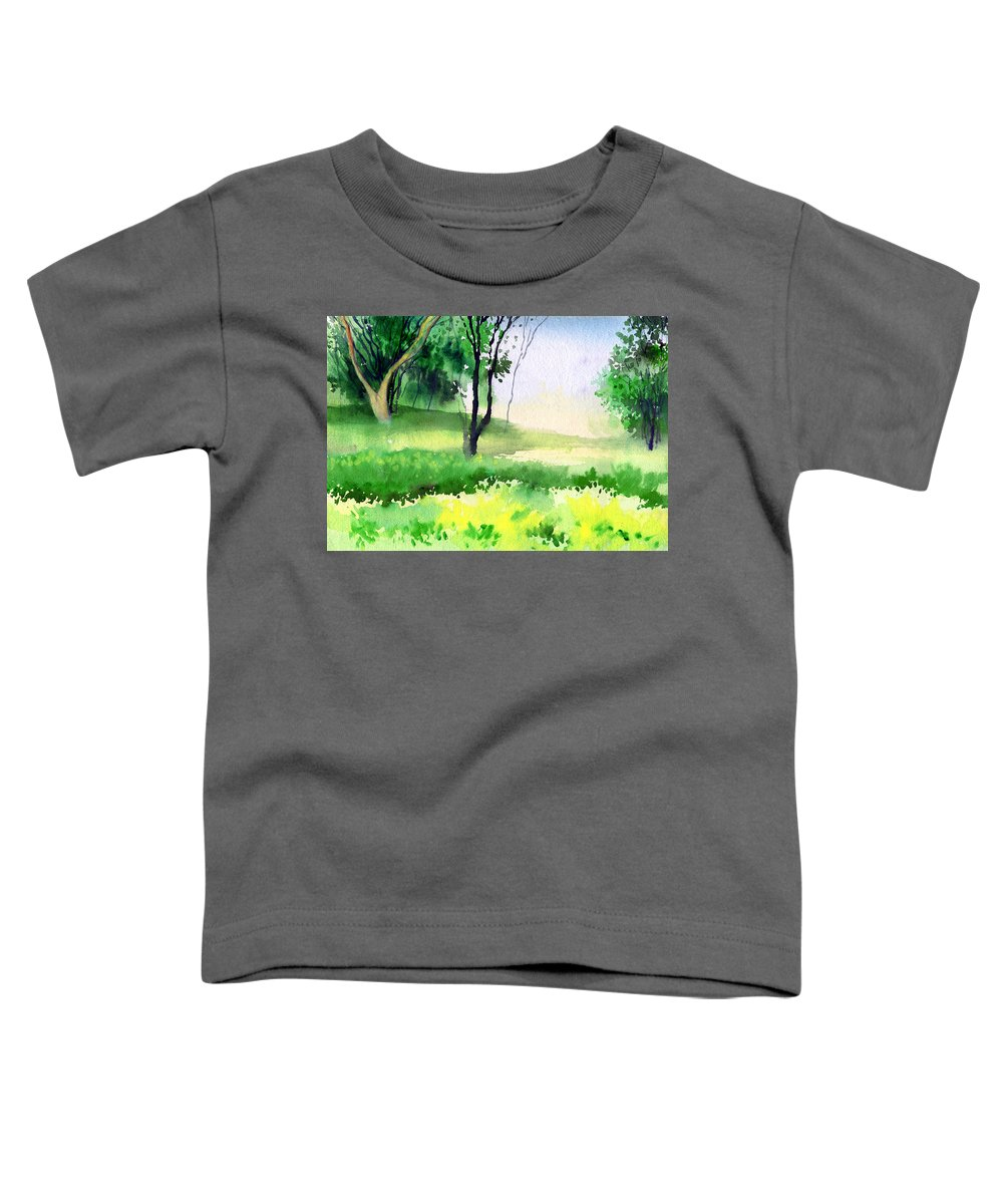 Watercolor Toddler T-Shirt featuring the painting Let's Go For A Walk by Anil Nene