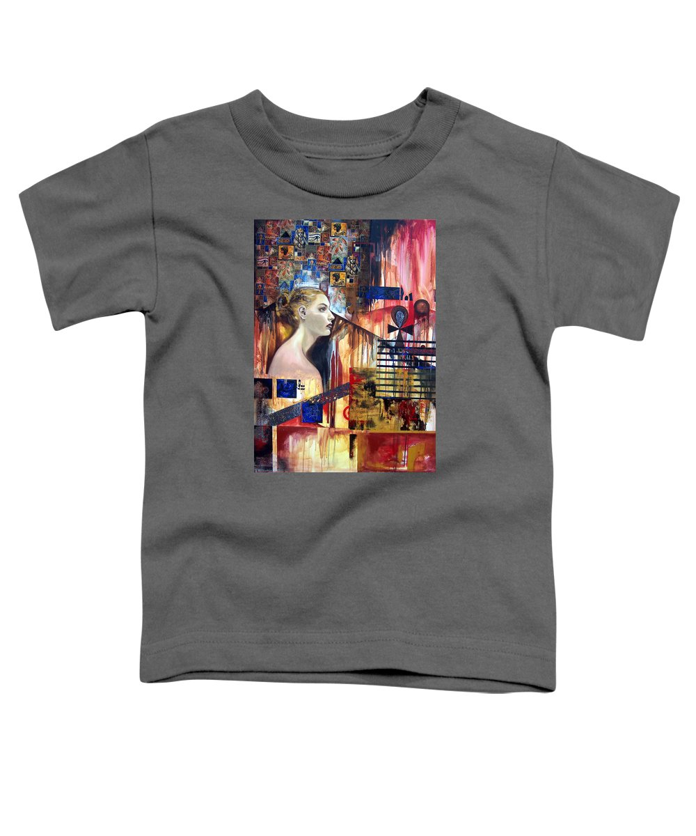 Profile Of A Woman Toddler T-Shirt featuring the painting Life In The Past by Leyla Munteanu