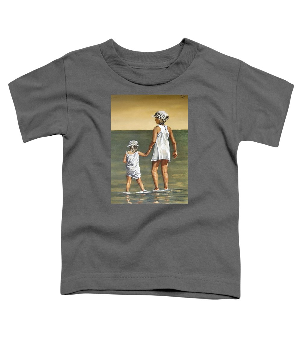 Little Girl Reflection Girls Kids Figurative Water Sea Seascape Children Portrait Toddler T-Shirt featuring the painting Little Sisters by Natalia Tejera