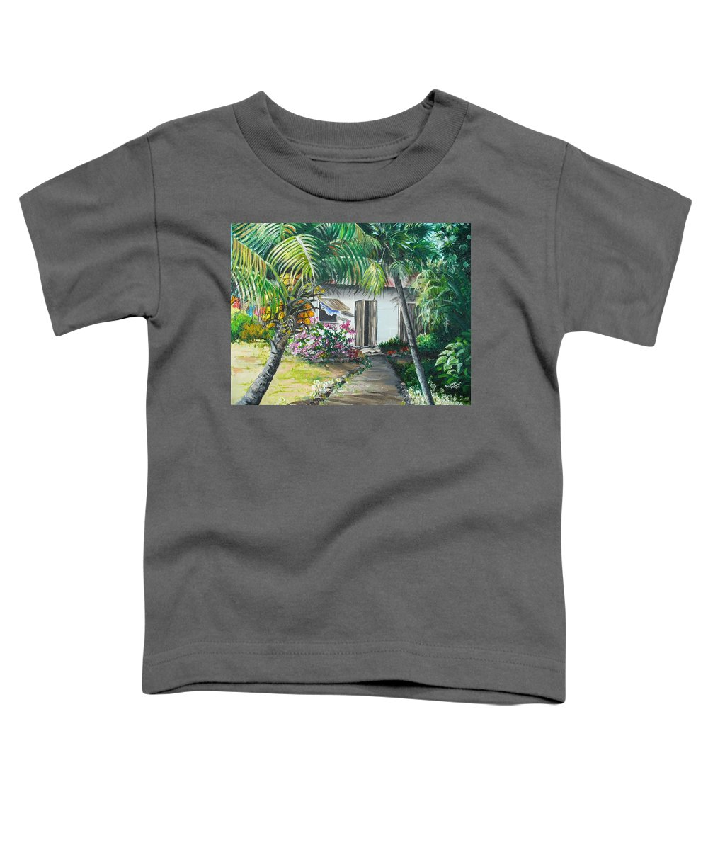 Caribbean Painting Typical Country House In Trinidad And The Islands With Coconut Tree Tropical Painting Toddler T-Shirt featuring the painting Little West Indian House 2...sold by Karin Dawn Kelshall- Best