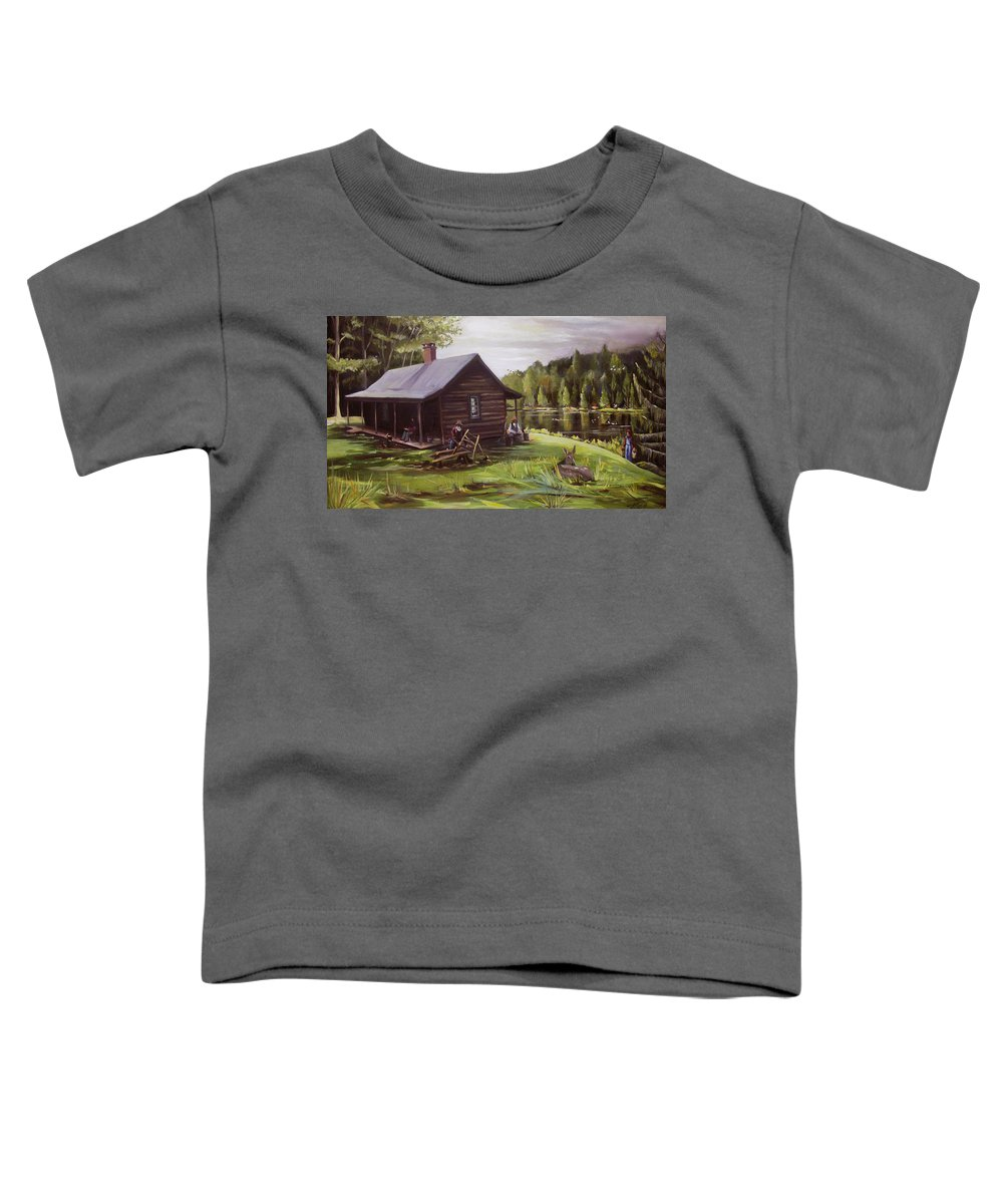 Log Cabin By The Lake Toddler T-Shirt featuring the painting Log Cabin By The Lake by Nancy Griswold