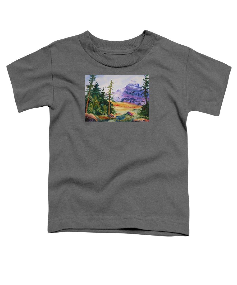 Landscape Toddler T-Shirt featuring the painting Logan Pass by Karen Stark