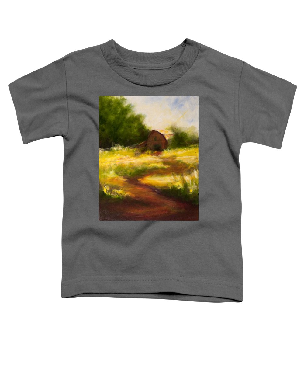 Landscape Toddler T-Shirt featuring the painting Long Road Home by Shannon Grissom