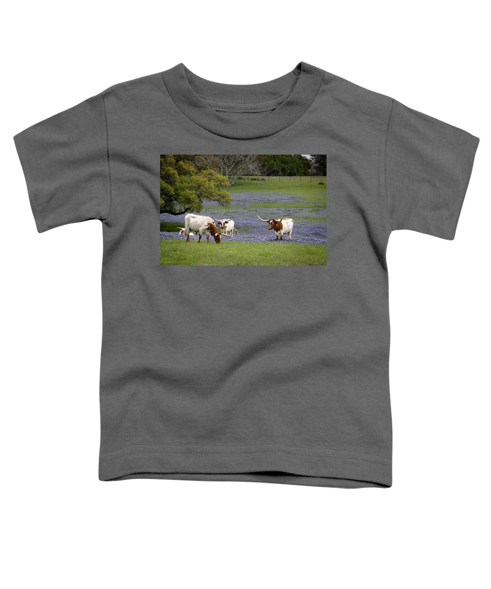 Longhorns Toddler T-Shirt featuring the photograph Longhorns Series No. 2 by Linda Lee Hall