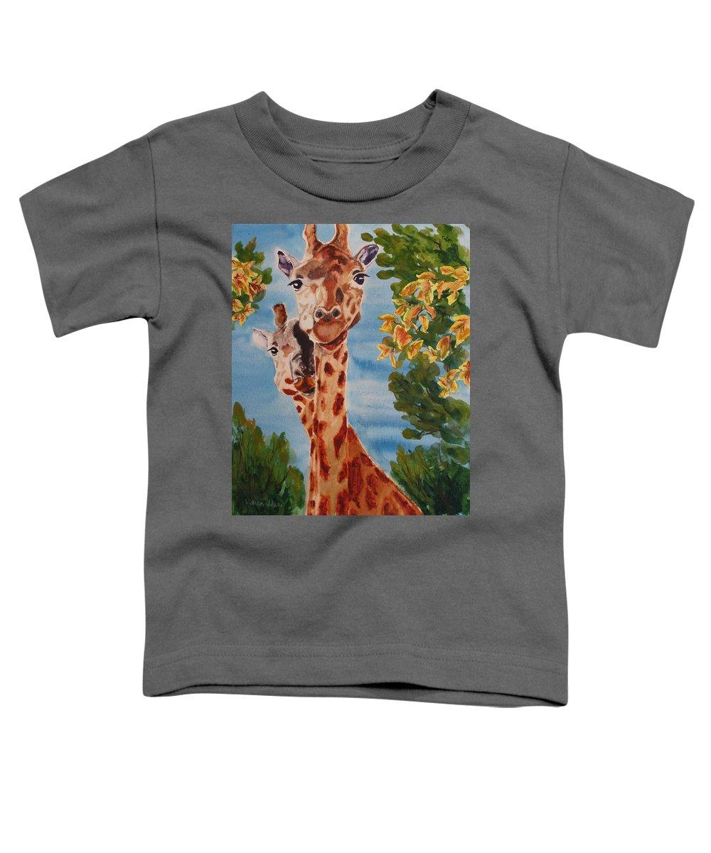 Giraffes Toddler T-Shirt featuring the painting Lookin Back by Karen Ilari