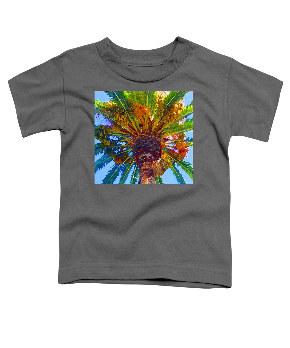 Garden Toddler T-Shirt featuring the painting Looking Up At Palm Tree by Amy Vangsgard
