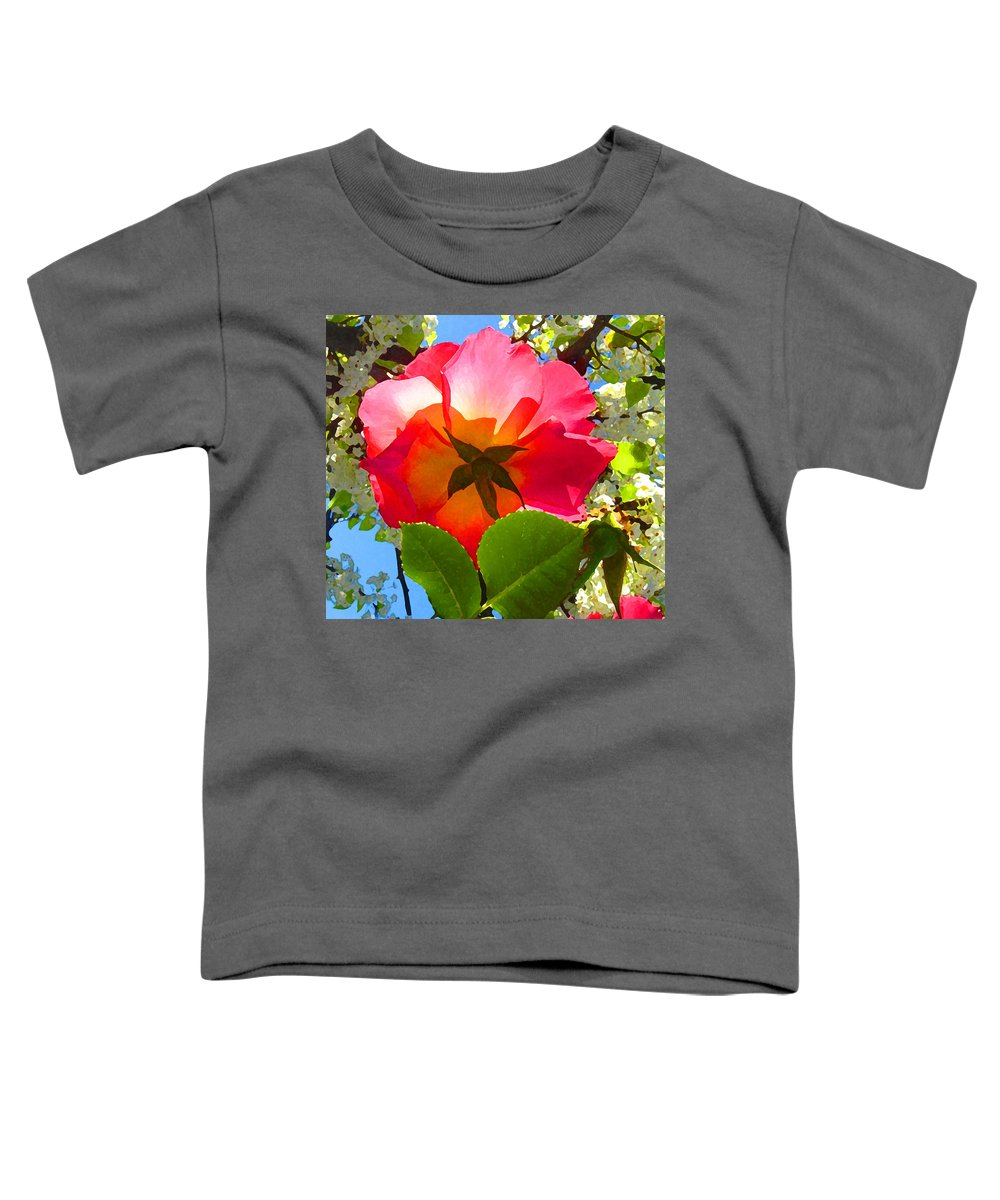 Roses Toddler T-Shirt featuring the photograph Looking Up At Rose And Tree by Amy Vangsgard