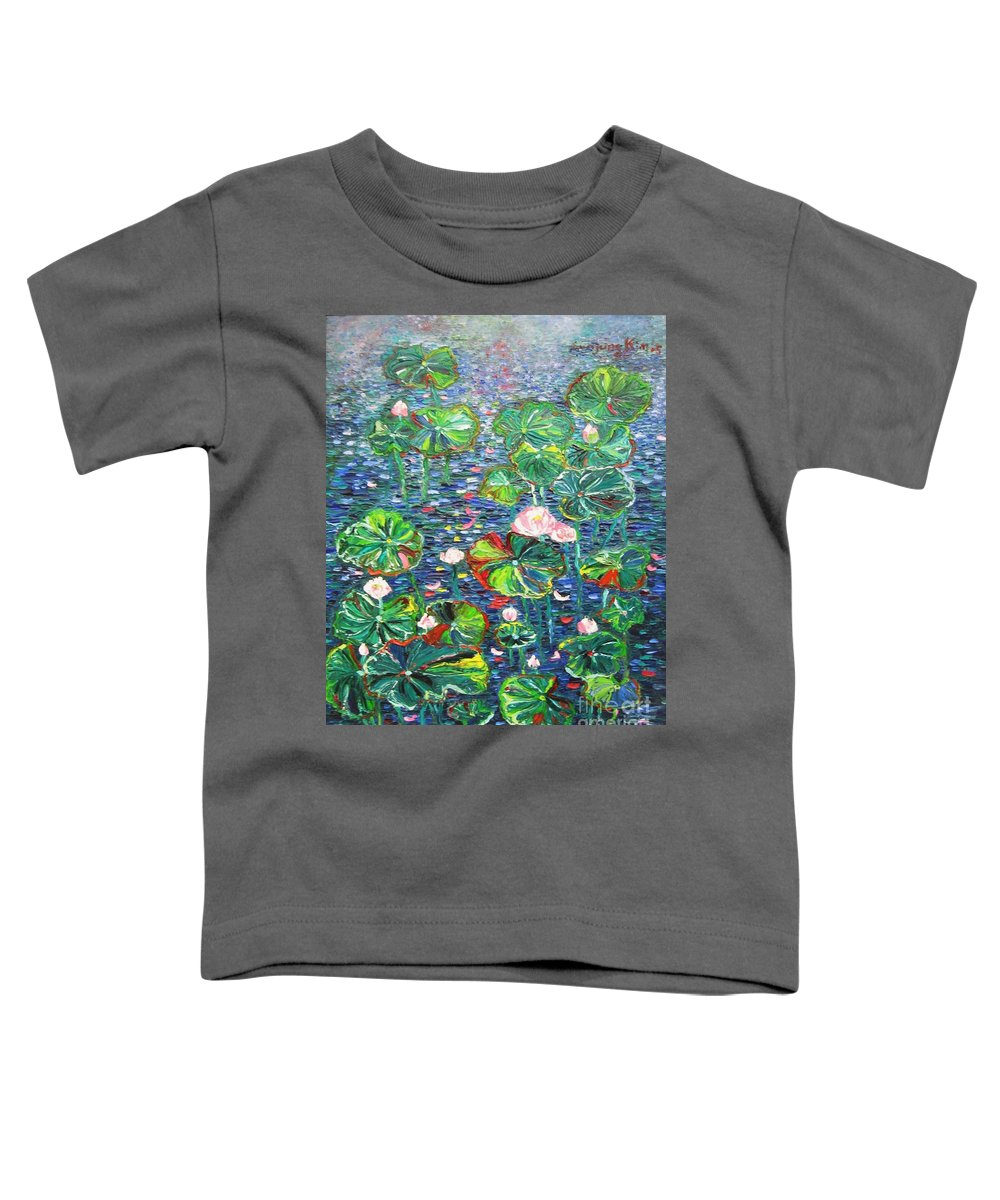 Water Lily Paintings Toddler T-Shirt featuring the painting Lotus Flower Water Lily Lily Pads Painting by Seon-Jeong Kim