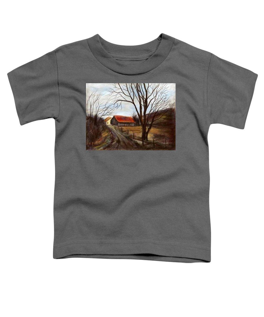 Barn Toddler T-Shirt featuring the painting Louisa Kentucky Barn by Gail Kirtz