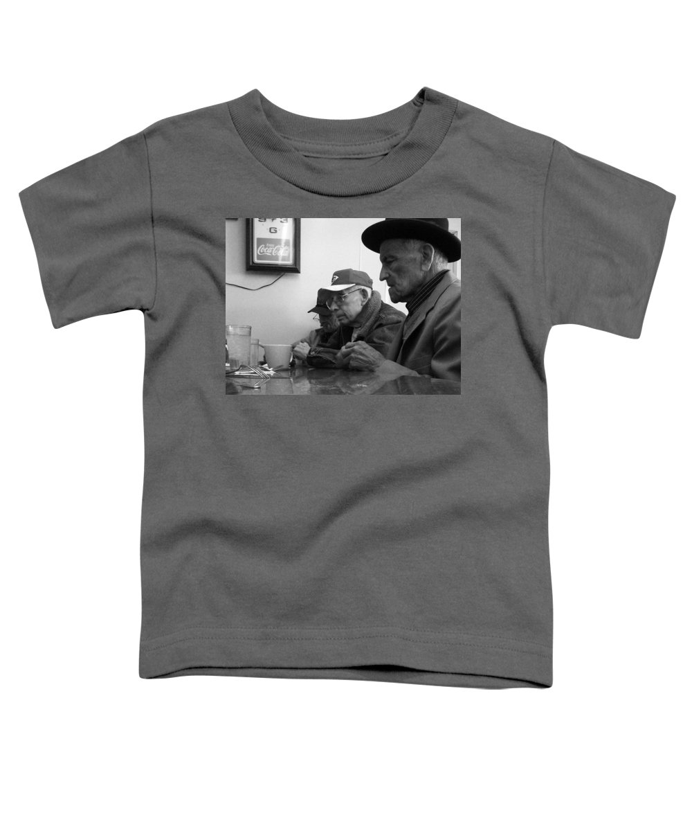 Diner Toddler T-Shirt featuring the photograph Lunch Counter Boys - Black And White by Tim Nyberg