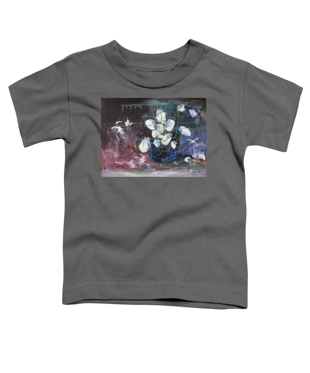 Abstract Paintings Toddler T-Shirt featuring the painting Magnolia by Seon-Jeong Kim