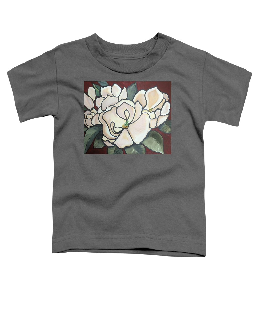 Flowers Toddler T-Shirt featuring the painting Magnolias Under Glass by Martha Mullins