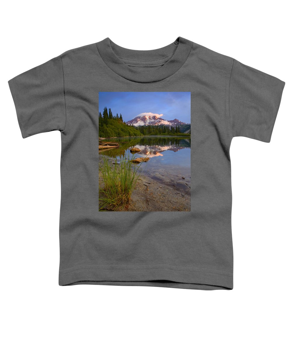 Mt. Rainier Toddler T-Shirt featuring the photograph Majestic Glow by Mike Dawson