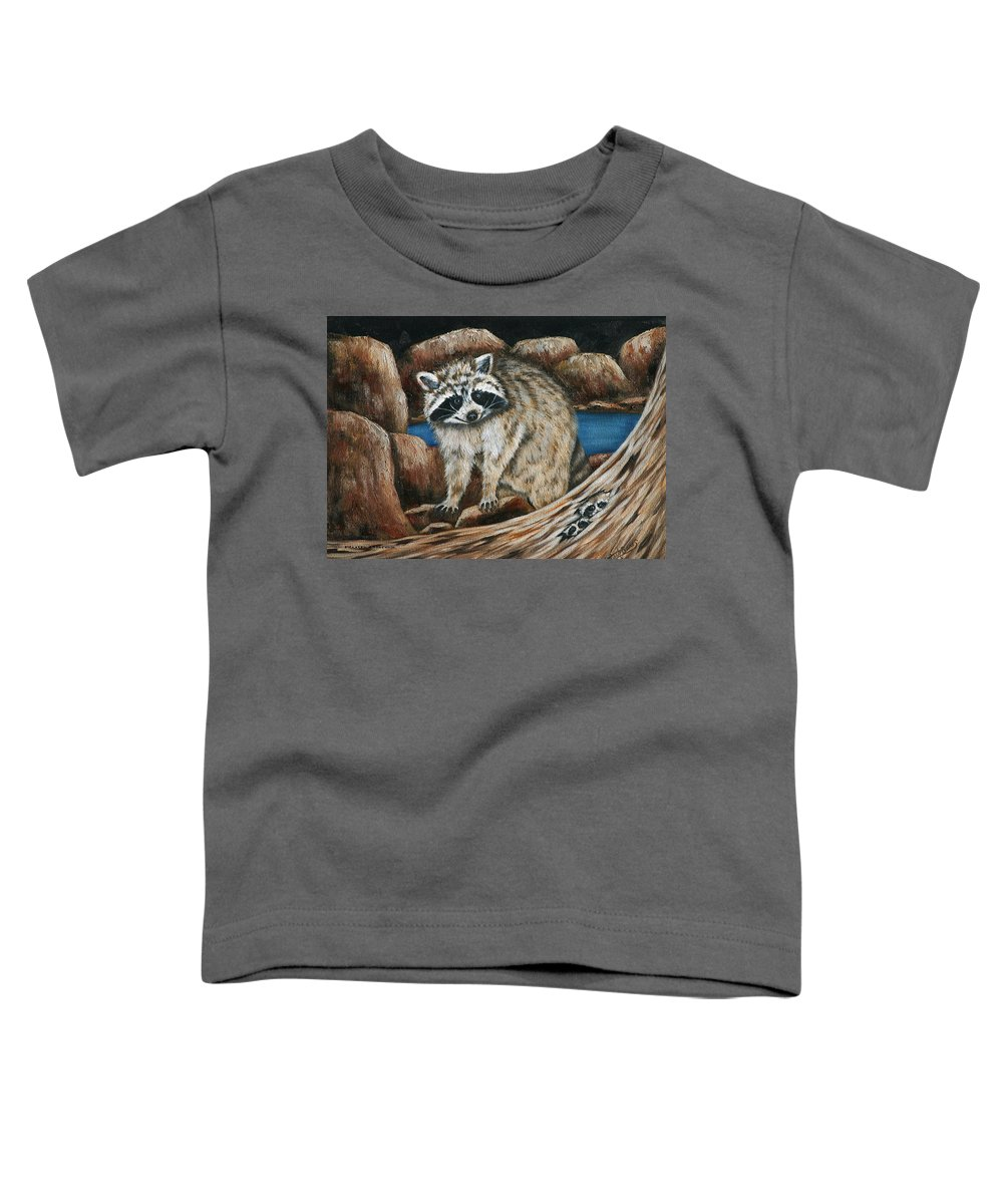 Racoon Toddler T-Shirt featuring the painting Mama Racoon by Ruth Bares