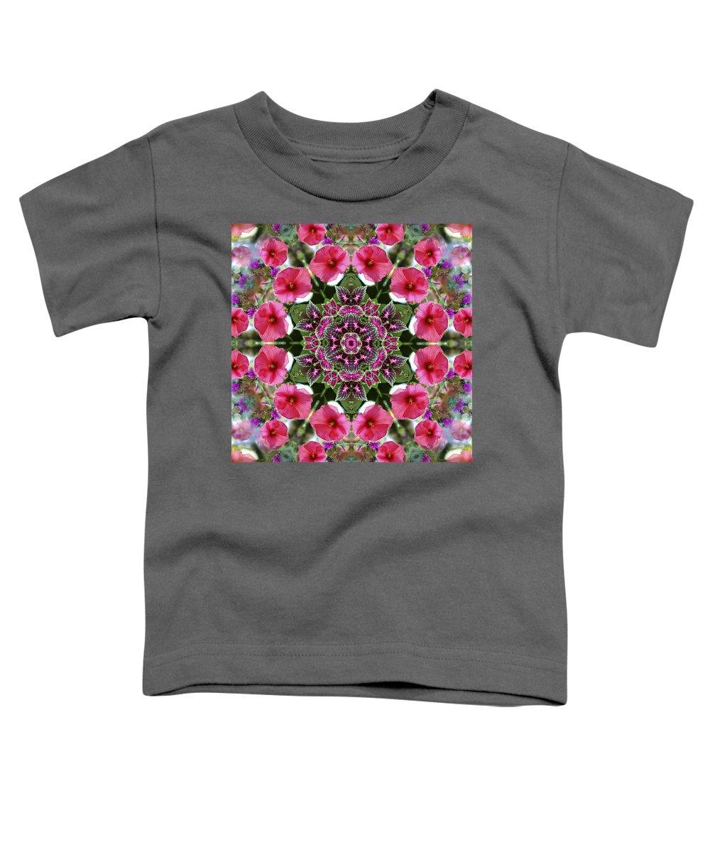 Mandala Toddler T-Shirt featuring the digital art Mandala Pink Patron by Nancy Griswold