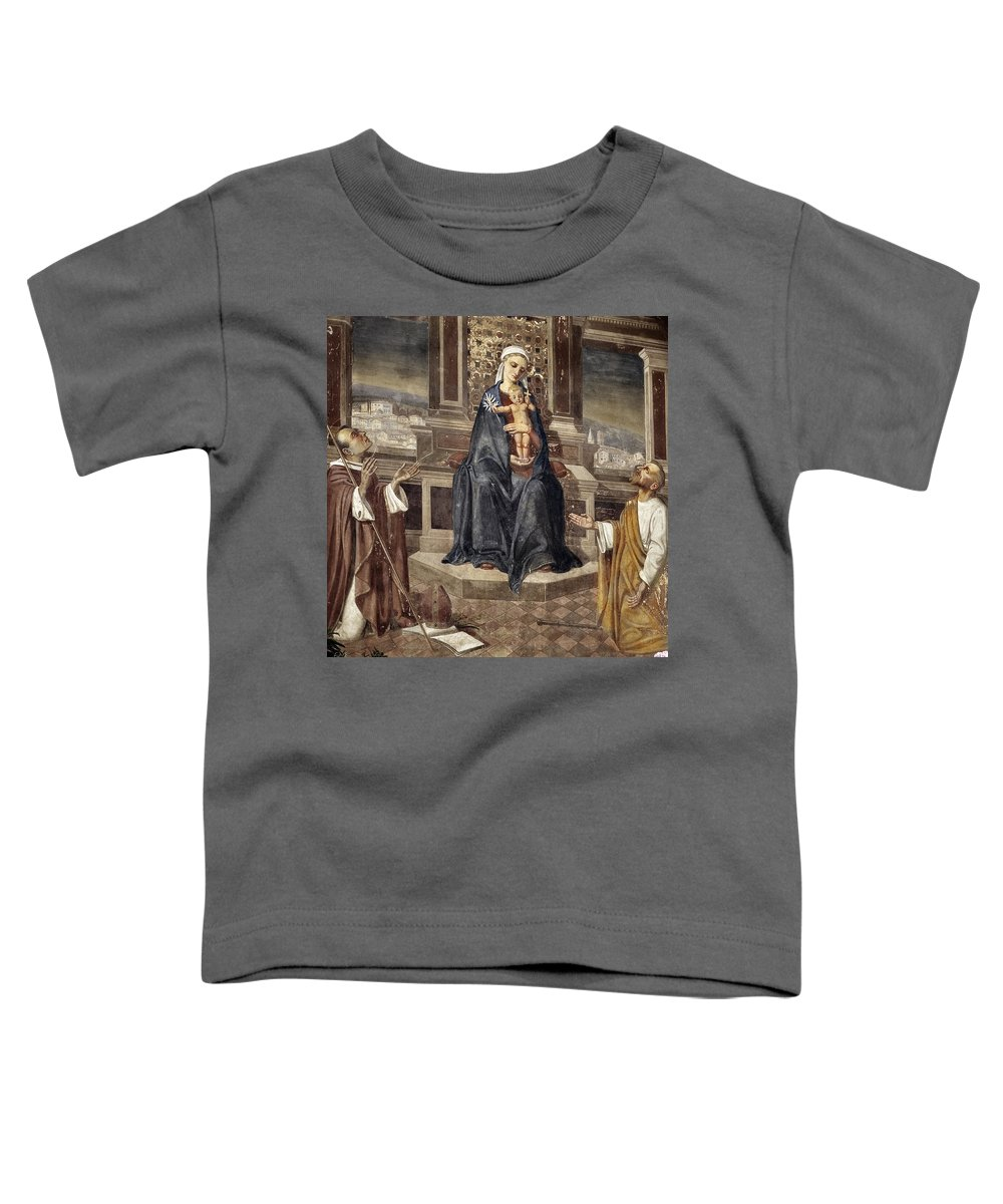 Italy Italian Mary Jesus Men Fresco Religious Religion Paint Painted Old Ancient Catholic Toddler T-Shirt featuring the photograph Mary And Baby Jesus by Marilyn Hunt