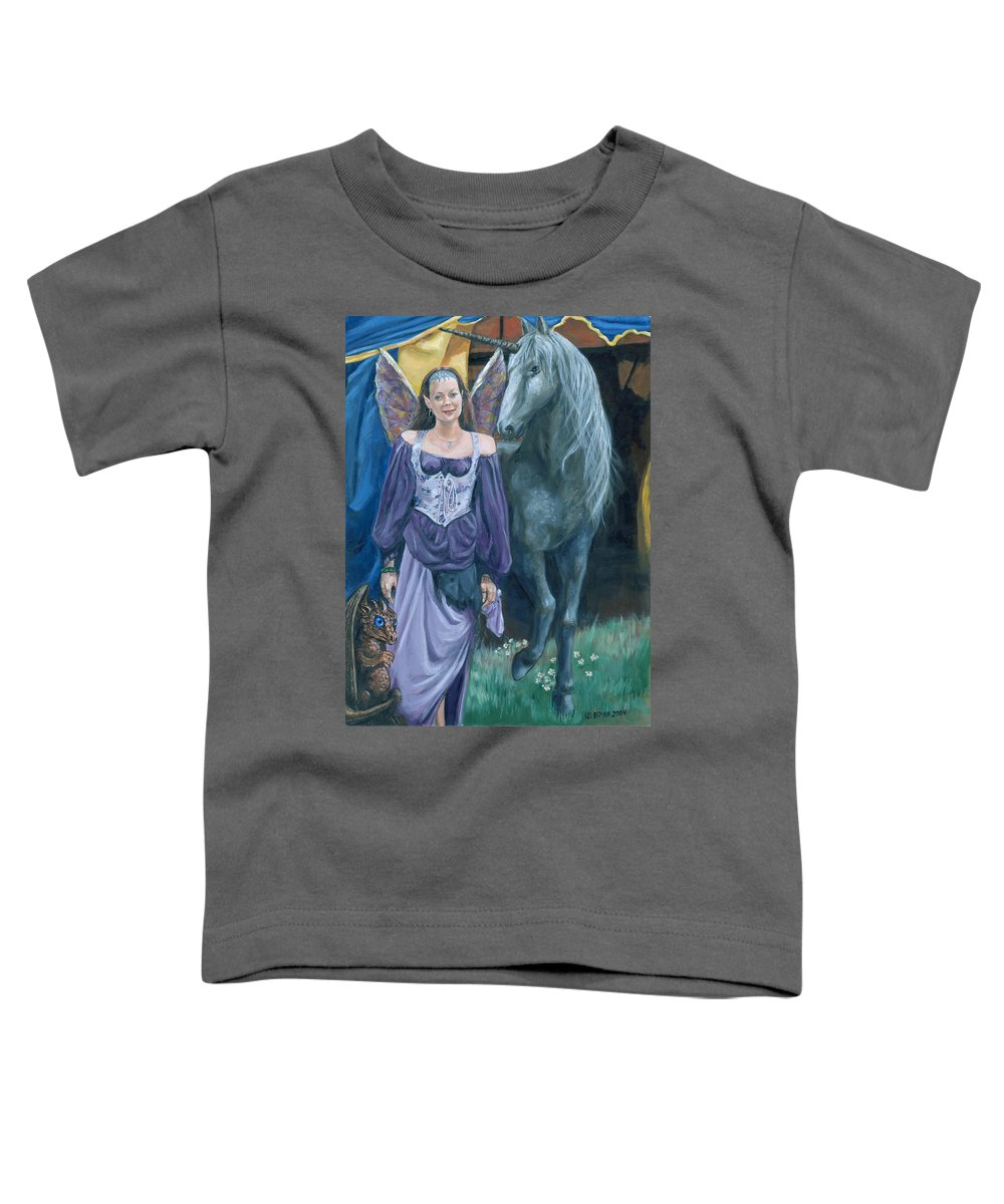 Fairy Faerie Unicorn Dragon Renaissance Festival Toddler T-Shirt featuring the painting Medieval Fantasy by Bryan Bustard