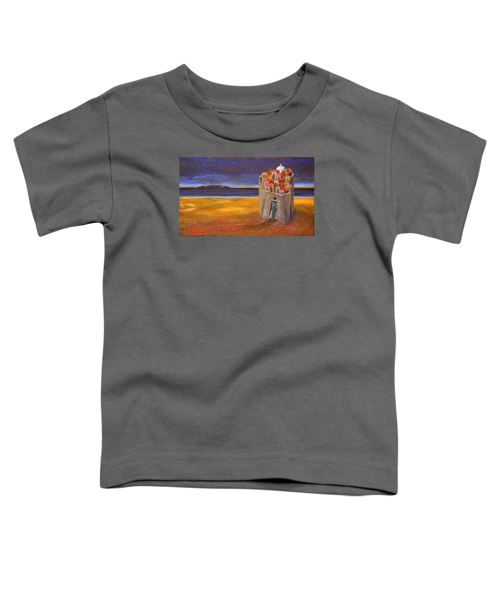 Superrealism Toddler T-Shirt featuring the painting Mesi Castle Village by Dimitris Milionis