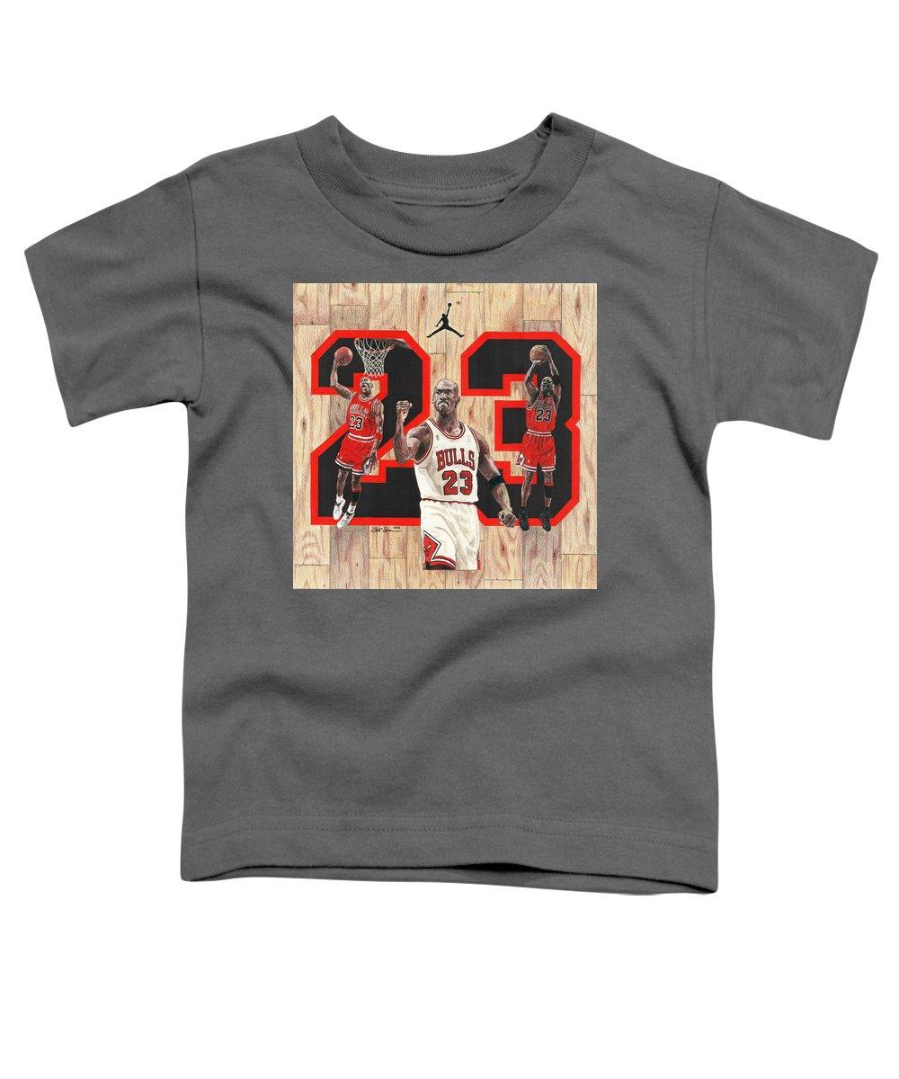 Michael Jordan Toddler T-Shirt featuring the drawing Michael Jordan by Chris Brown