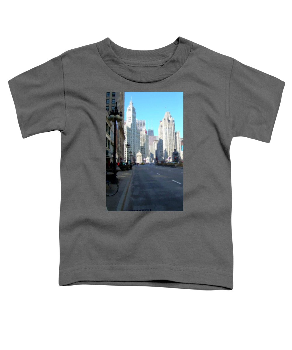 Chicago Toddler T-Shirt featuring the digital art Michigan Ave Tall by Anita Burgermeister