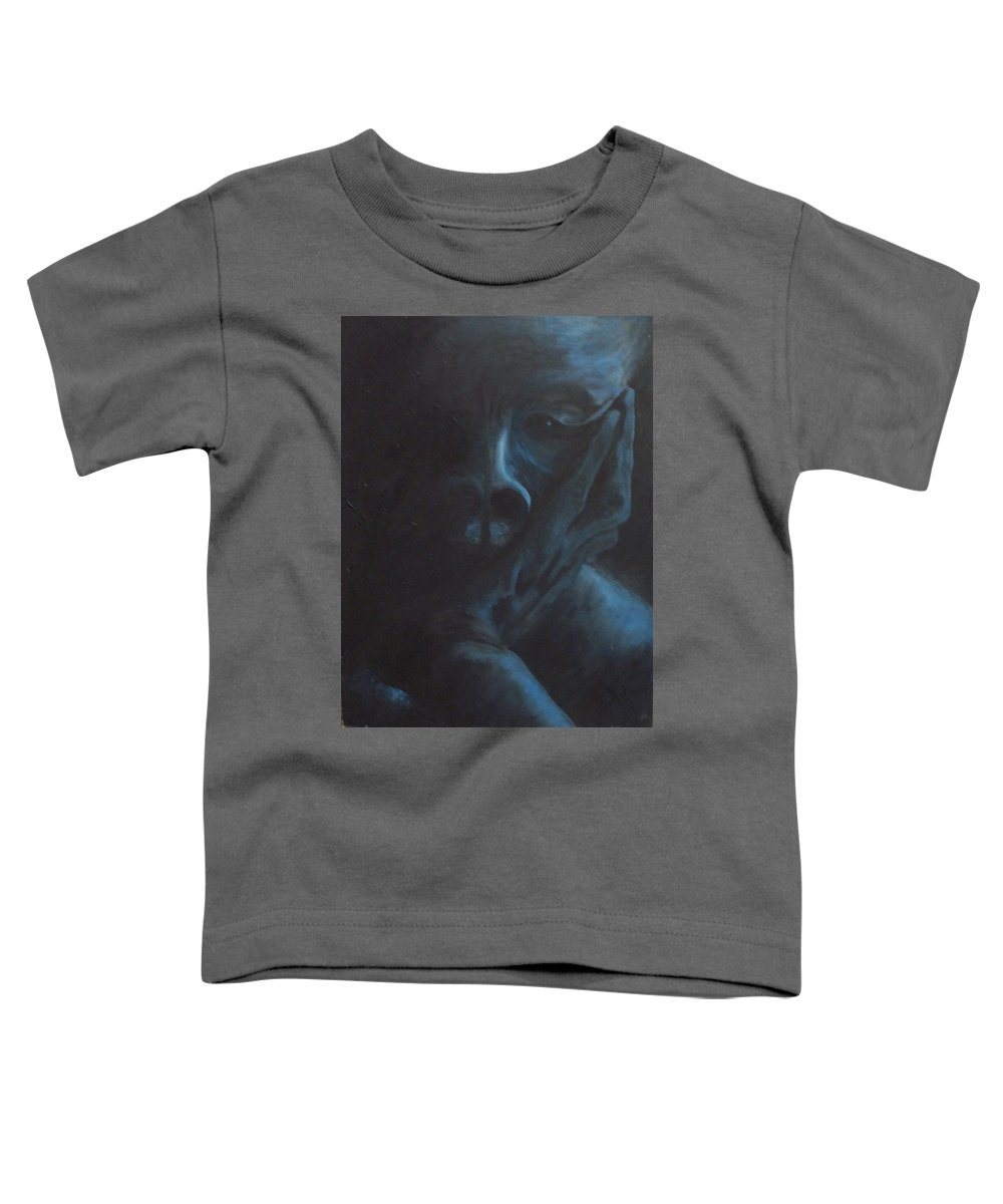 Sad Toddler T-Shirt featuring the painting Misery by Gale Cochran-Smith