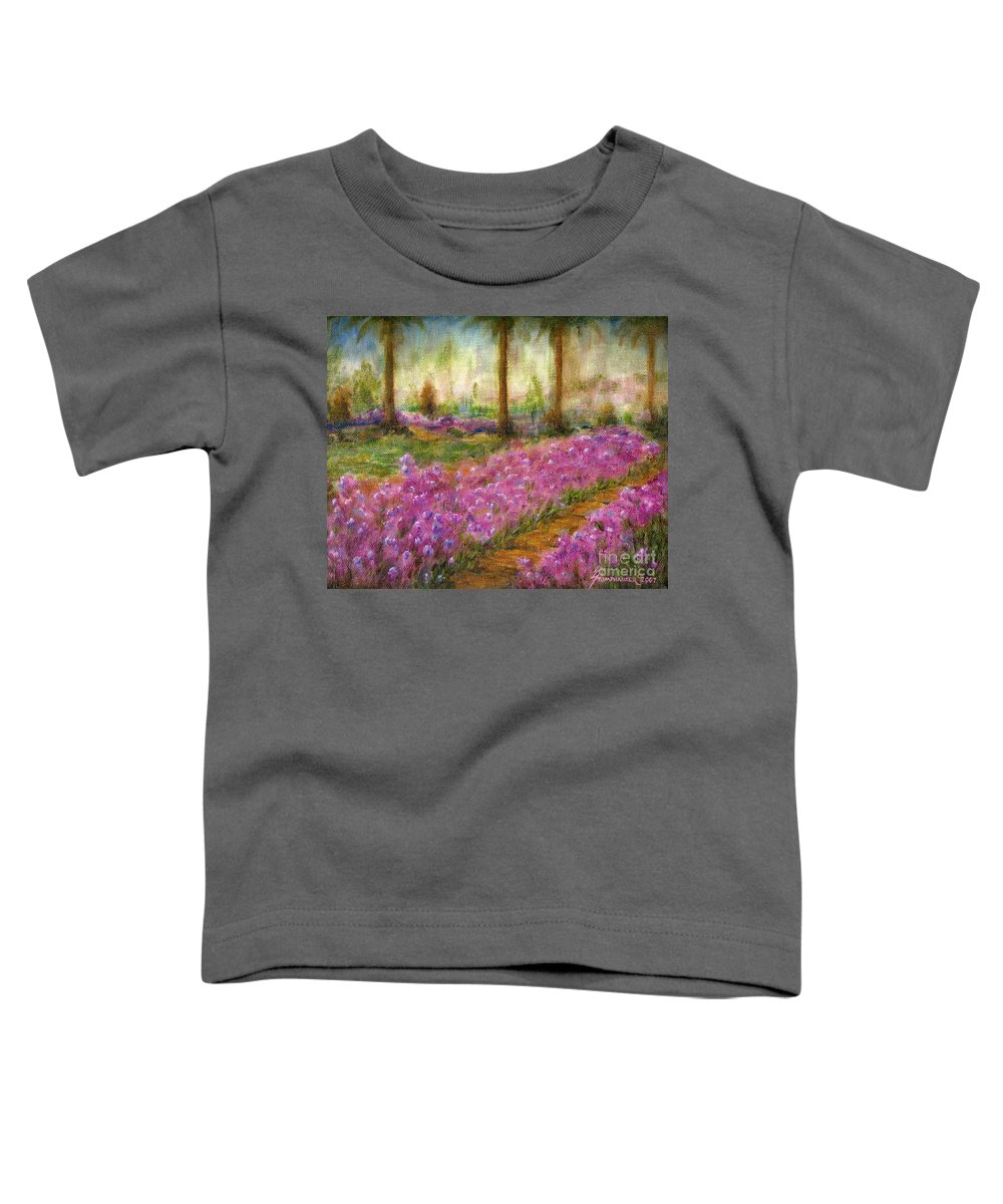 Monet Toddler T-Shirt featuring the painting Monet's Garden In Cannes by Jerome Stumphauzer