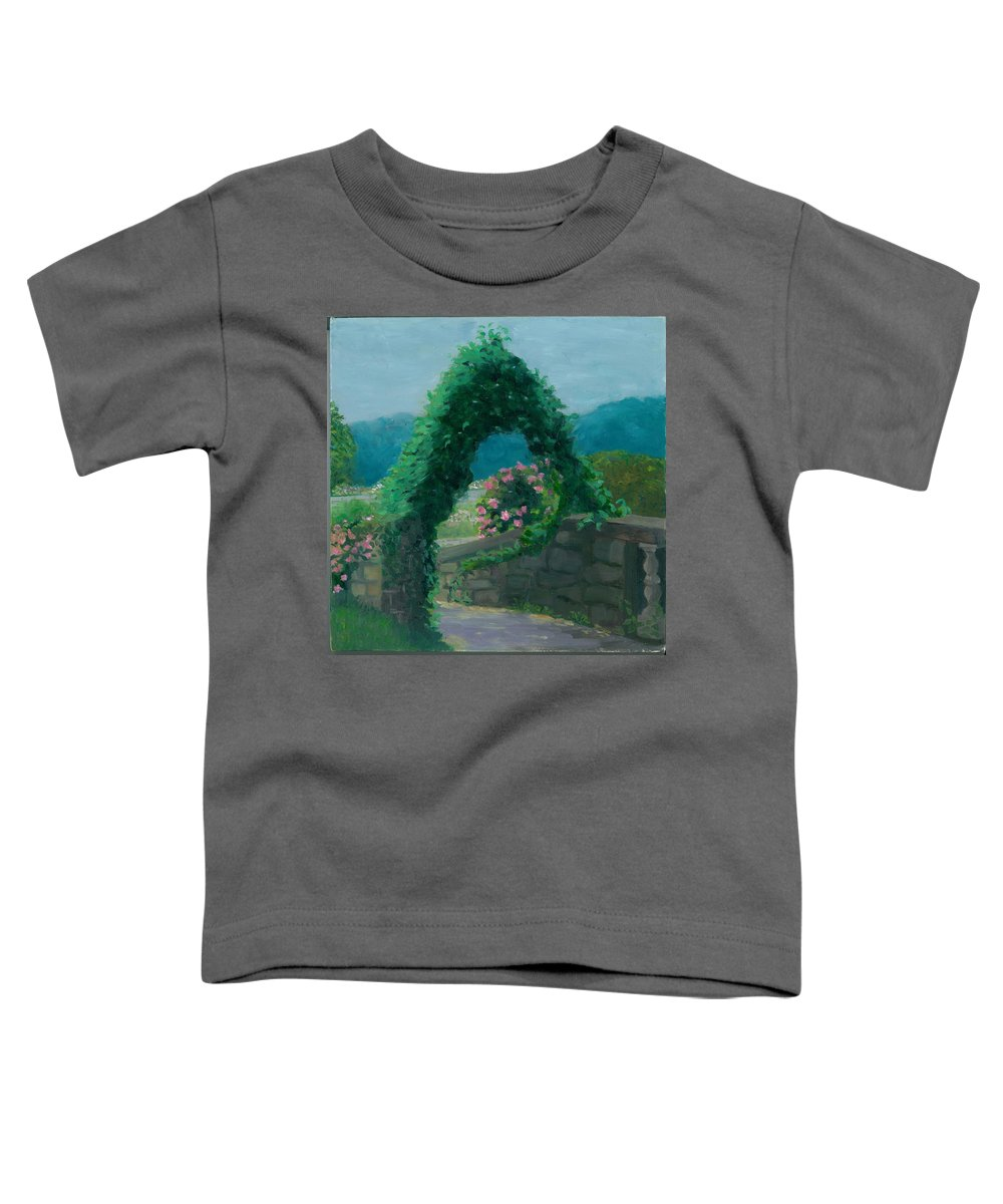 Landscape Toddler T-Shirt featuring the painting Morning At Harkness Park by Paula Emery
