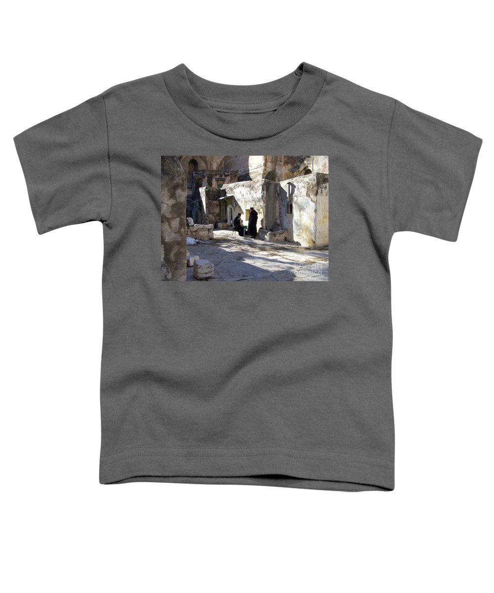 Jerusalem Toddler T-Shirt featuring the photograph Morning Conversation by Kathy McClure