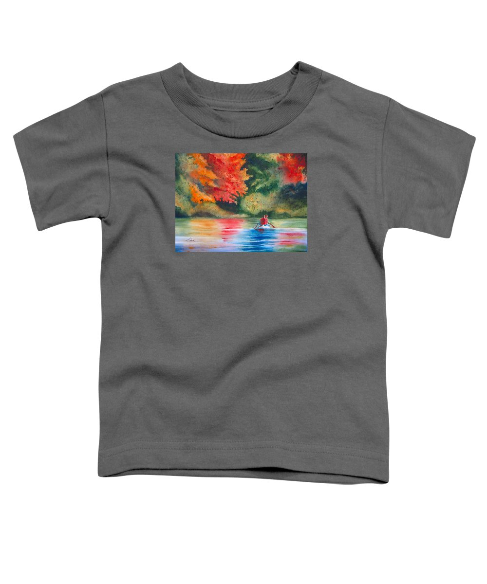 Lake Toddler T-Shirt featuring the painting Morning On The Lake by Karen Stark