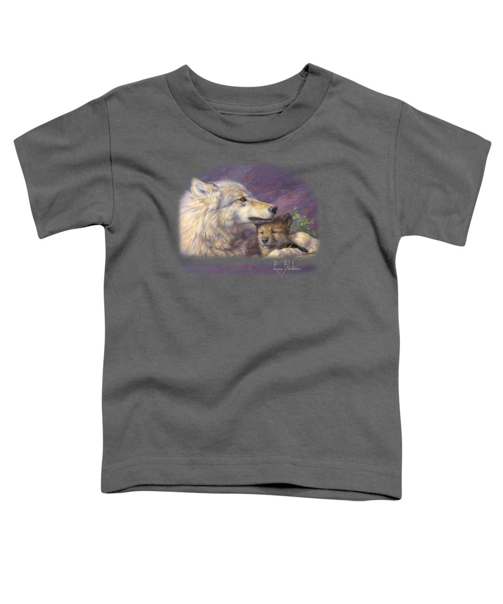 Wolf Toddler T-Shirt featuring the painting Mother's Love by Lucie Bilodeau